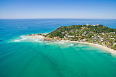 An aerial view of Wategoes beach in Byron Bay in New South Wales, Australia