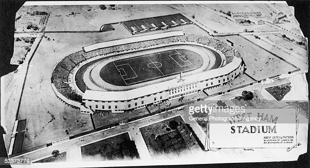 An aerial view of West Ham football stadium built by Scottish engineer Archibald Leitch circa 1928