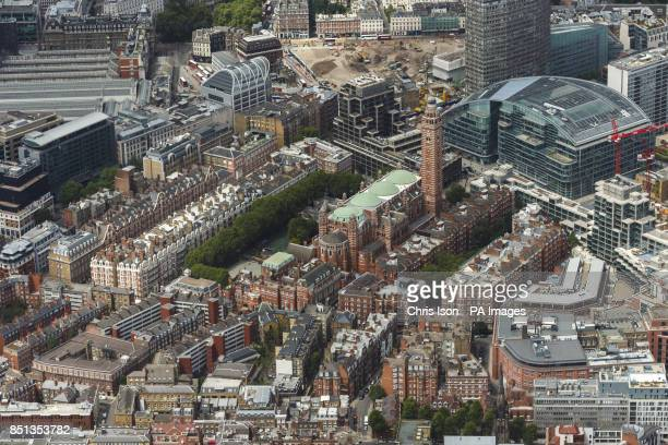 An aerial view of Westminster Cathedral in Victoria London including the offices of The Press Association