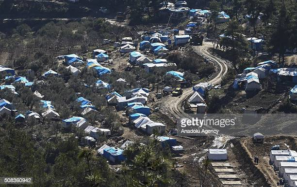An aerial view of Yamadi camp in Lattakia Syria on February 4 2016 where Turkmen people fled from their homes due to Russian and Assad Regime forces...