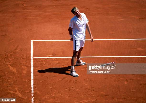 An aerial view of Yevgeny Kafelnikov of Russia reacting during a men's singles match at the French Open Tennis Championships at the Roland Garros...