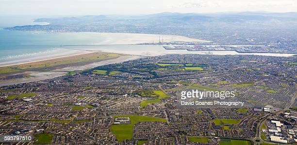 An aerial view over Dublin bay, Ireland