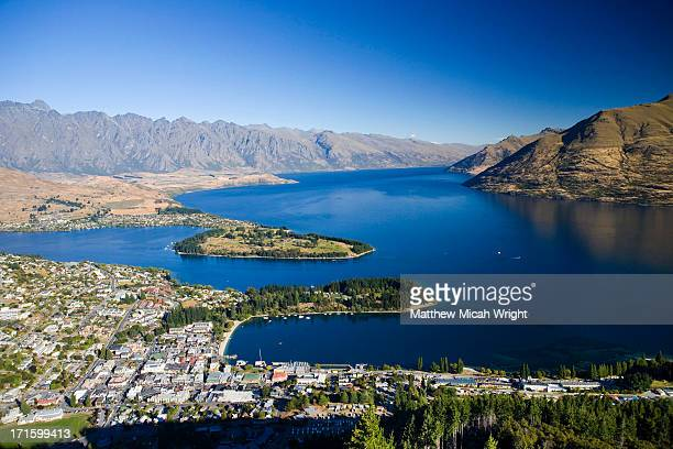 An aerial view over the city of Queenstown