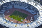 An aerial view over the London 2012 Olympic Stadium on April 1 2012 in Stratford London
