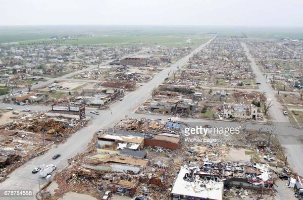 An aerial view shows damage to Greensburg Kan after the May 4 2007 tornado The EF5 tornado destroyed much of the town but the National Weather...