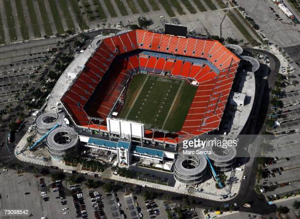An aerial view shows Dolphin Stadium in Miami Florida on December 7 2006