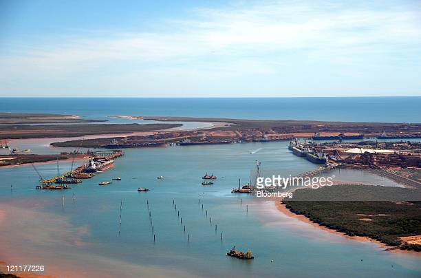 An aerial view shows Fortescue Metals Group Ltd's berth left in Port Hedland in the Pilbara region of Western Australia on Monday July 25 2011...