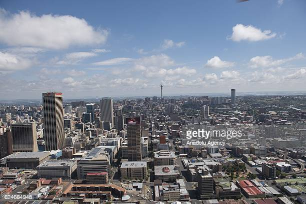 An aerial view shows Johannesburg business district in Johannesburg South Africa on November 20 2016