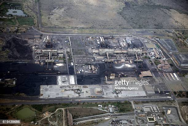 An aerial view shows mines in the Platinum Province of North West South Africa on October 31 2016 Known as the Platinum Province it is responsible...