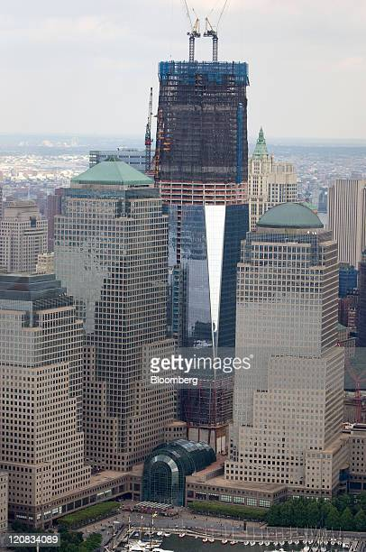An aerial view shows One World Trade Center center under construction in New York US on Wednesday Aug 10 2011 New York City's jobless rate climbed in...