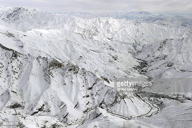 An aerial view shows Salang village covered with snow after avalanches killed at least 165 people at the Salang tunnel in Parwan province on February...