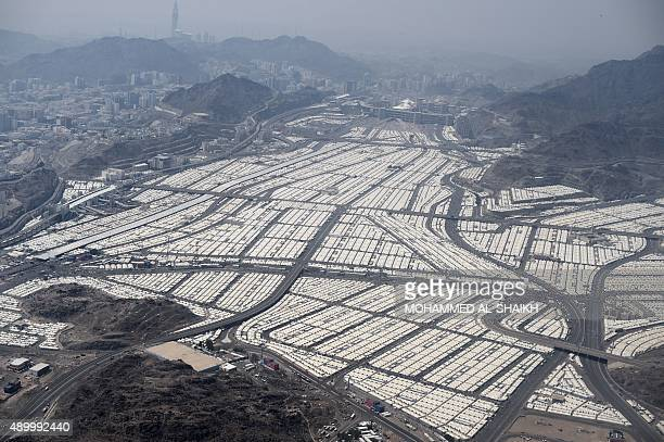 An aerial view shows tens of thousands of tents hosting pilgrims in Mina near the holy city of Mecca on September 25 2015 AFP PHOTO / MOHAMMED...
