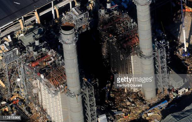 An aerial view shows the aftermath of an explosion at the Kleen Energy Systems plant located along the Connecticut River in Middletown Connecticut on...