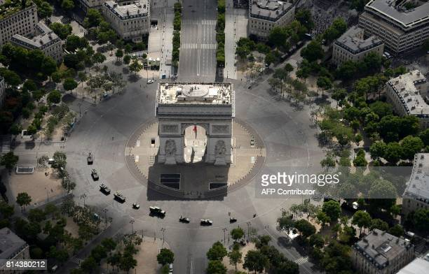 An aerial view shows the Arch of Triumph before the annual Bastille Day military parade on the ChampsElysees avenue in Paris on July 14 2017 The...