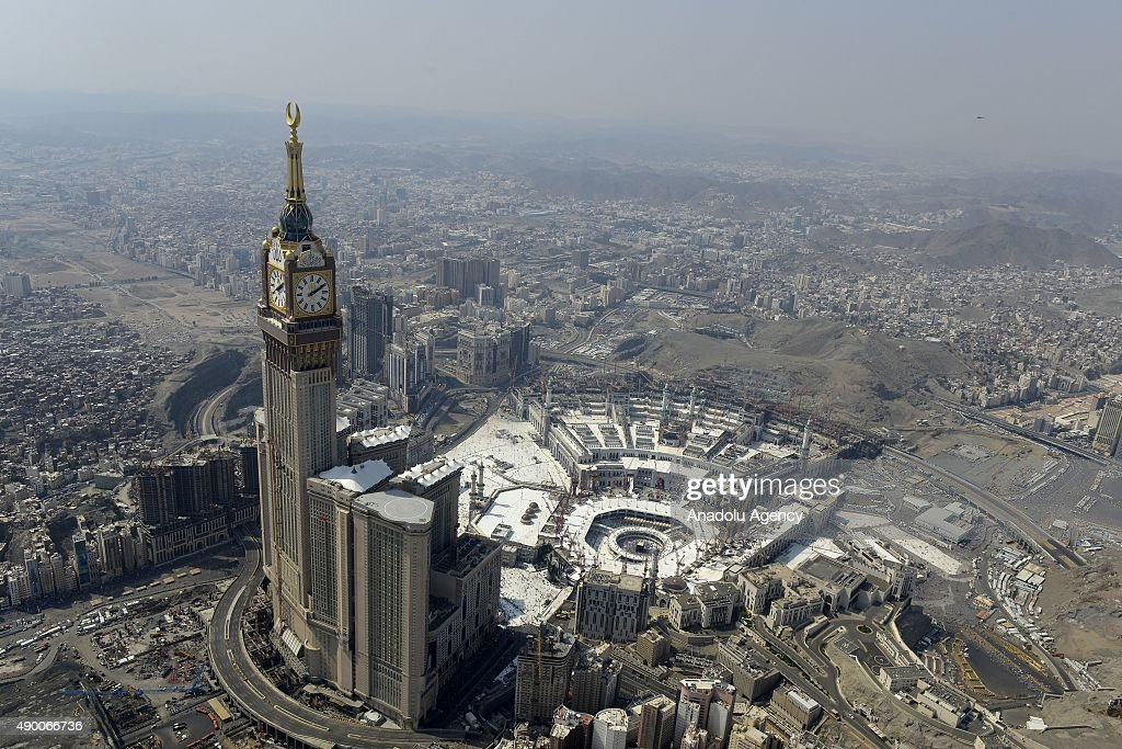 An aerial view shows the Clock Tower and the Grand Mosque in Saudi Arabia's holy Muslim city of Mecca on September 25, 2015.