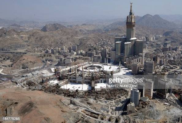 An aerial view shows the Clock Tower and the Grand Mosque in the holy city of Mecca on October 16 2013 Saudi Arabia said that around 198 million...