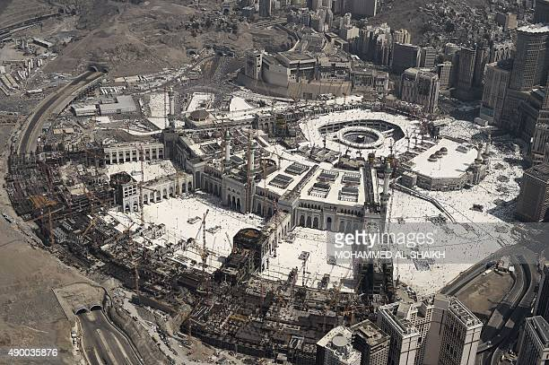 An aerial view shows the Grand mosque and the Kaaba in Saudi Arabia's holy Muslim city of Mecca on September 25 2015 At least 700 people were killed...
