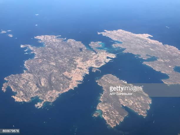 An aerial view shows the islands of Caprera Santo Stefano and La Maddalena an archipelago off Sardinia Italy on September 20 2017 / AFP PHOTO /...