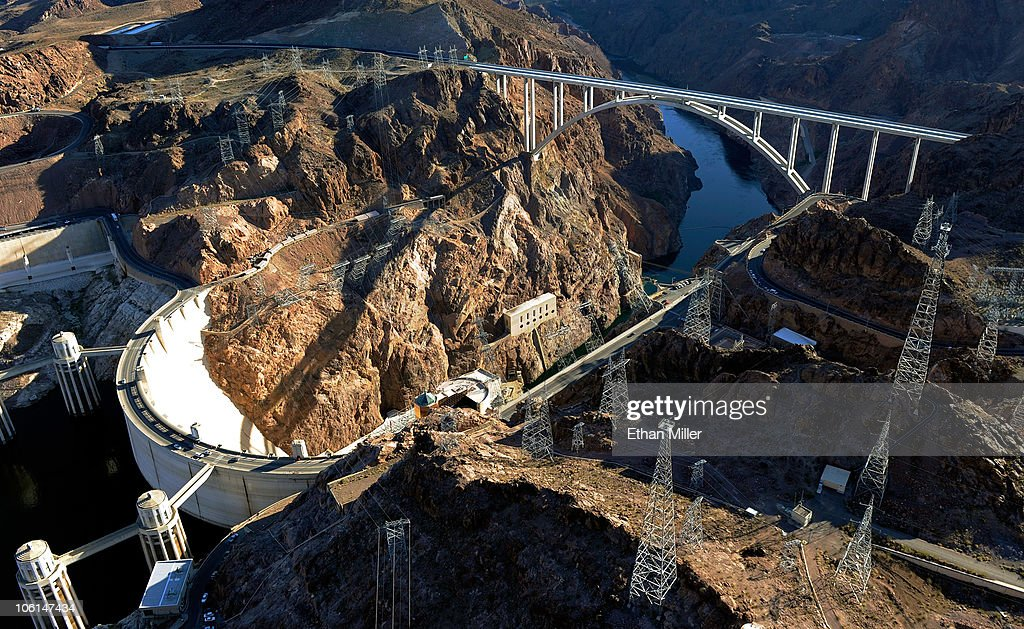 An aerial view shows the Mike O'Callaghan-Pat Tillman Memorial Bridge part of the Hoover Dam Bypass Project October 26, 2010 in the Lake Mead National Recreation Area, Nevada. The 1,900-foot-long structure sits 890 feet above the Colorado River, about a quarter of a mile downstream from the Hoover Dam. The USD 240 million four-lane bypass project to relieve vehicle traffic on the Hoover Dam began in 2003, and opened to traffic on October 19.