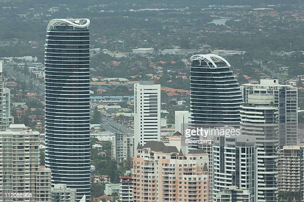 An aerial view shows The Oracle a newly constructed twotower luxury apartment development in Broadbeach a suburb of the Gold Coast in Australia on...