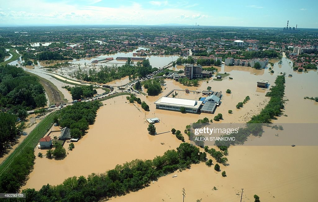 An aerial view shows the Serbian town of Obrenovac some 30km southwest of Belgrade flooded by the river Sava on May 19 2014 The worst floods in more...