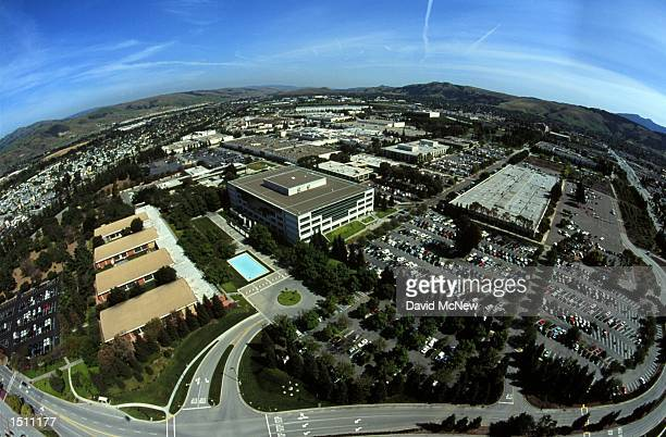 An aerial view shows the Silicon Valley location of IBM in San Jose California April 21 2000