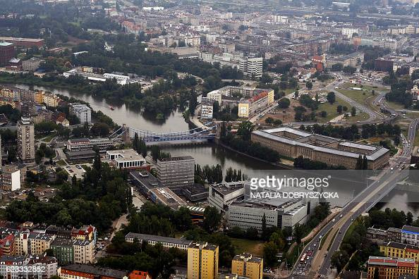 An aerial view taken 12 October 2007 shows the southwestern Polish city of Wroclaw The booming city has become a symbol for the country's liberal...