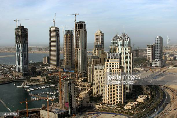 An aerial view taken 29 January 2006 shows Marsa Dubai or Dubai Marina in the Gulf emirate one of the first big projects of the world's largest real...