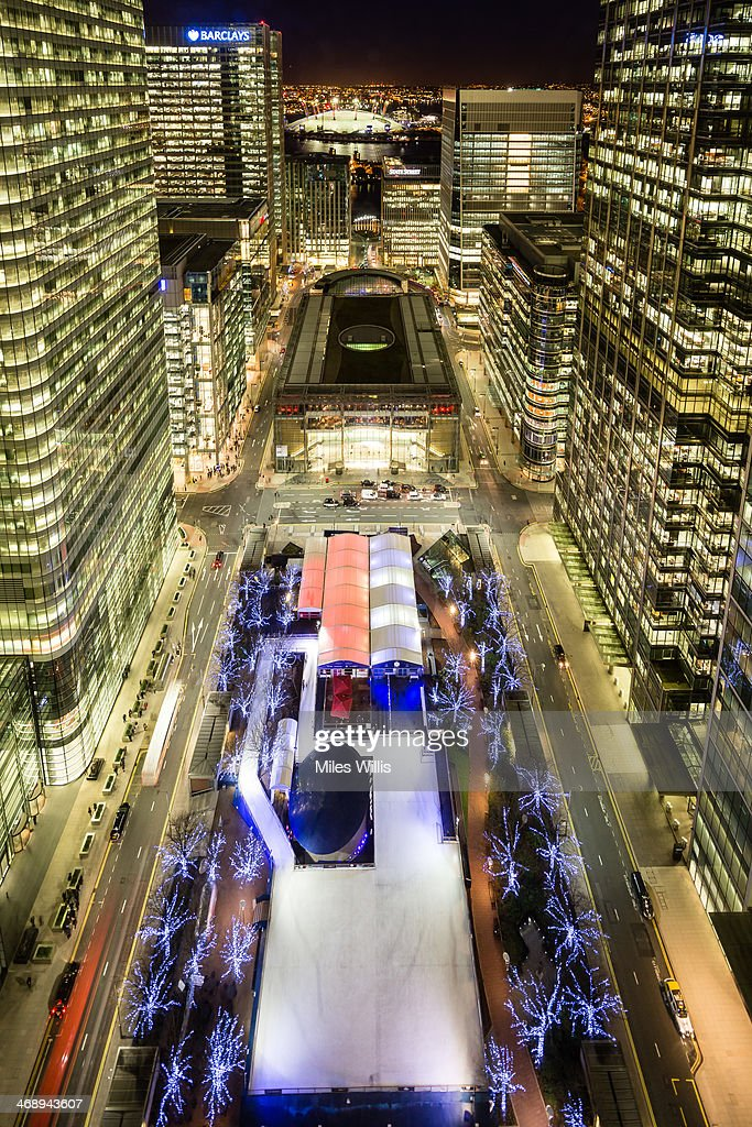 An aerial view taken from One Canada Square to celebrate Valentine's Day at the Ice Rink Canary Wharf, London's longest-running ice rink at Canary Wharf on February 7, 2014 in London, England.
