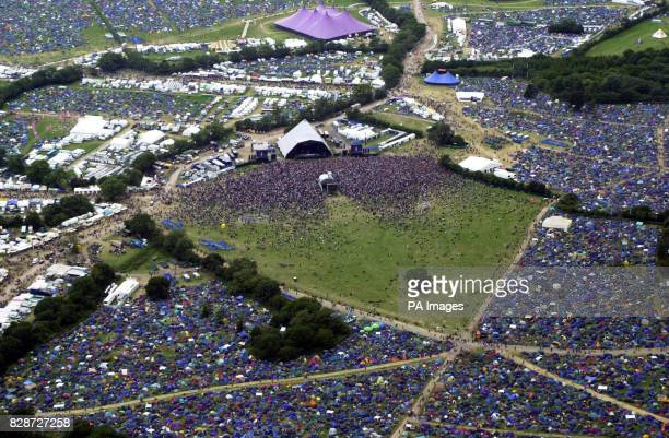 An aerial view taken from the Avon and Somerset/Gloucestershire police helicopter of the Glastonbury festival on the first day of the major music...