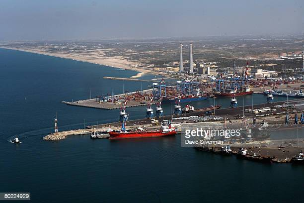 An aerial view taken March 12 2008 shows the harbour of the southern Israeli city of Ashdod In recent weeks over a dozen Gradtype Katyusha rockets...