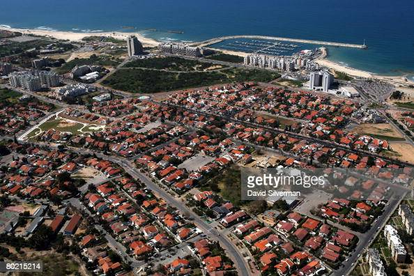 An aerial view taken March 12 2008 shows the marina and residential district of the southern Israeli city of Ashkelon In recent weeks over a dozen...