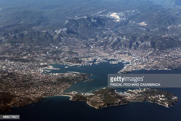 An aerial view taken on August 14 2015 shows the port of Toulon southern France AFP PHOTO / PASCAL POCHARDCASABIANCA