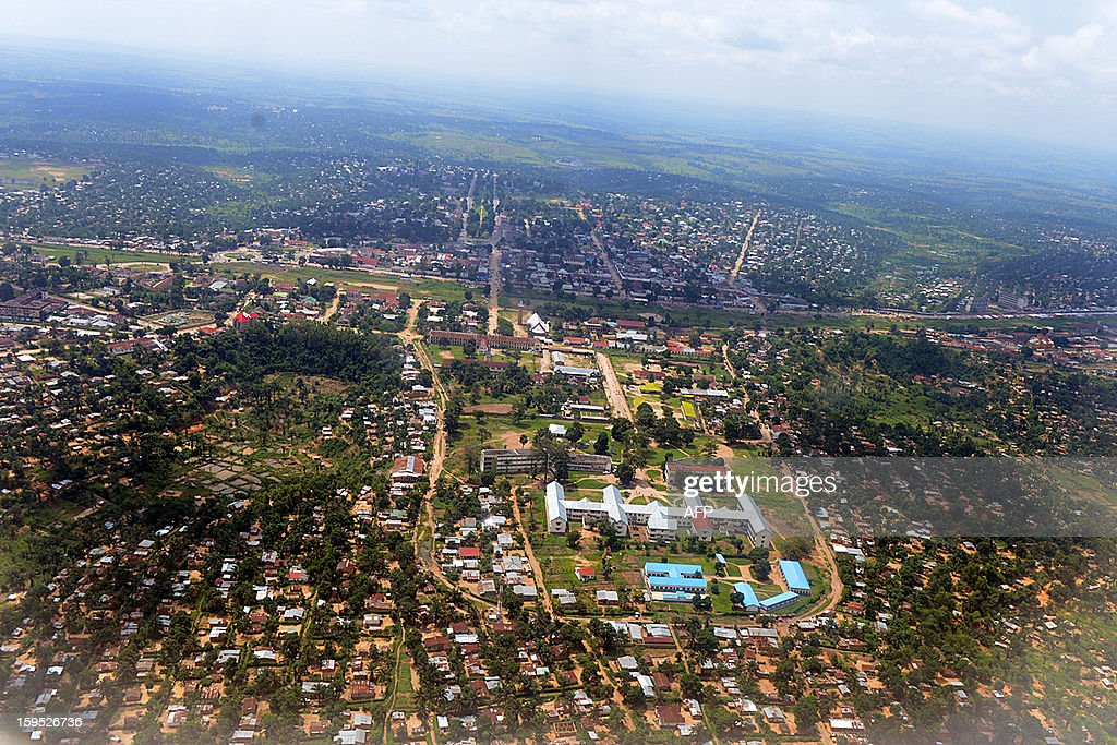 An aerial view taken on January 11, 2013 of the central Democratic Republic of Congo city of Kananga.