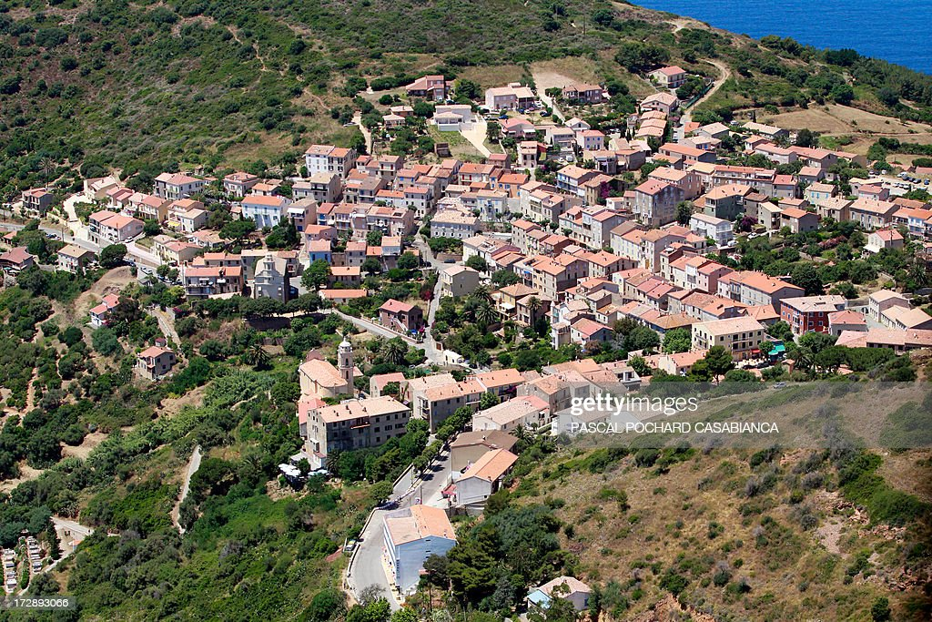 An aerial view taken on July 01, 2013, shows the city of Cargese on the French mediterranean Island of Corsica.