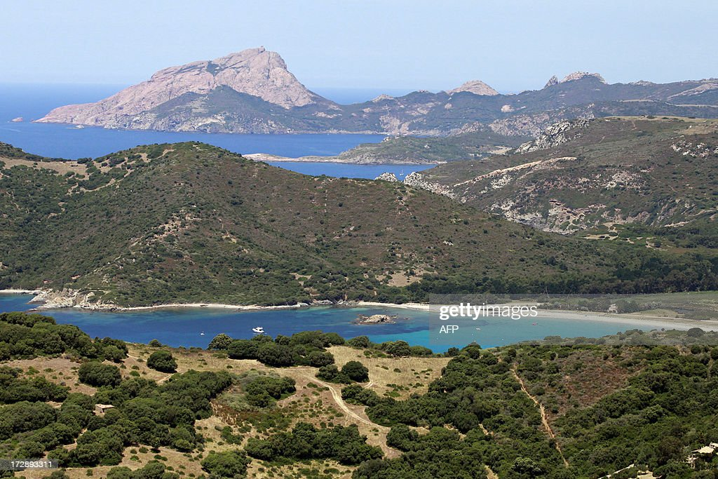 An aerial view taken on July 01, 2013, shows the coast close from Cargese, on the French Mediterranean Island of Corsica.