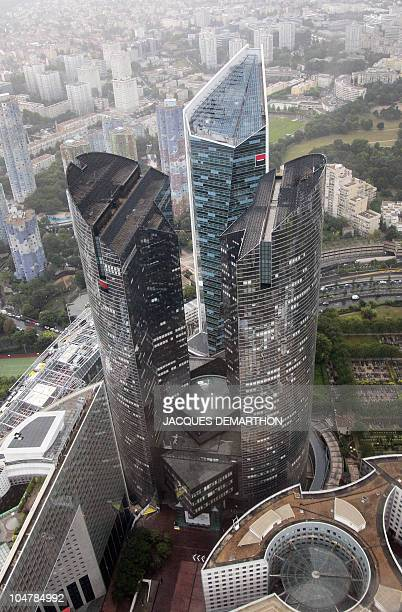 An aerial view taken on July 14 shows the French bank Societe Generale's central headquarters in La Defense business district in Puteaux outside...