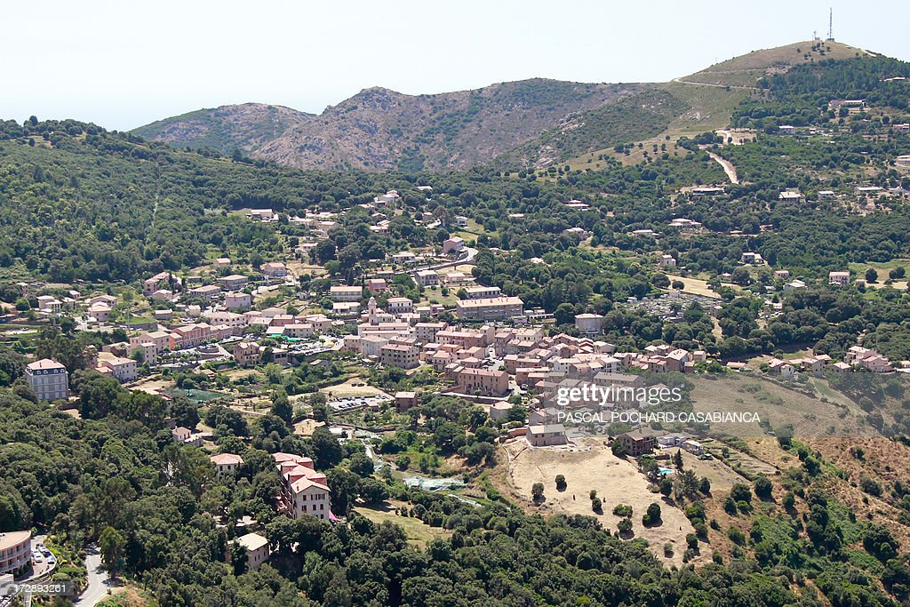 An aerial view taken on July 1rst, 2013, shows the village of Piana on the French Mediterranean Island of Corsica.