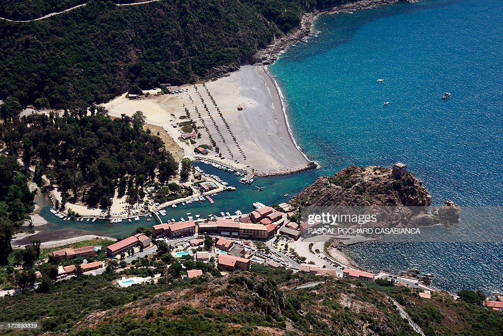 An aerial view taken on July 1rst, 2013, shows the village of Porto, French Mediterranean Island of Corsica.