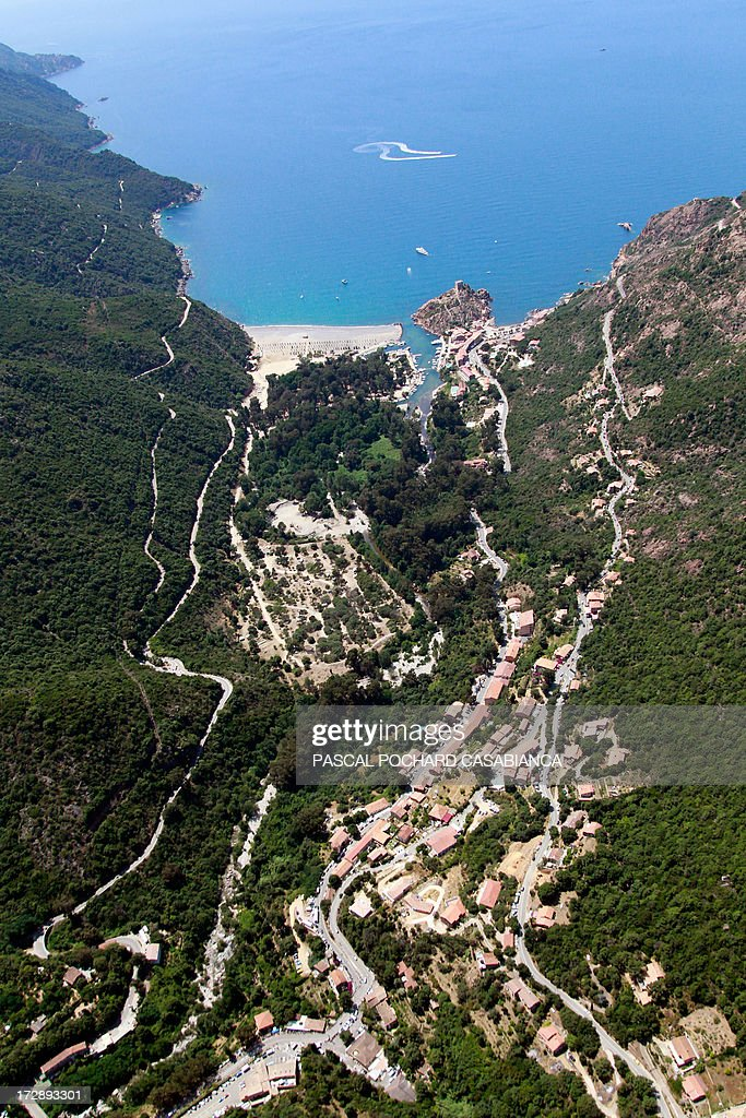 An aerial view taken on July 1rst, 2013, shows the village of Porto, on the French Mediterranean Island of Corsica.
