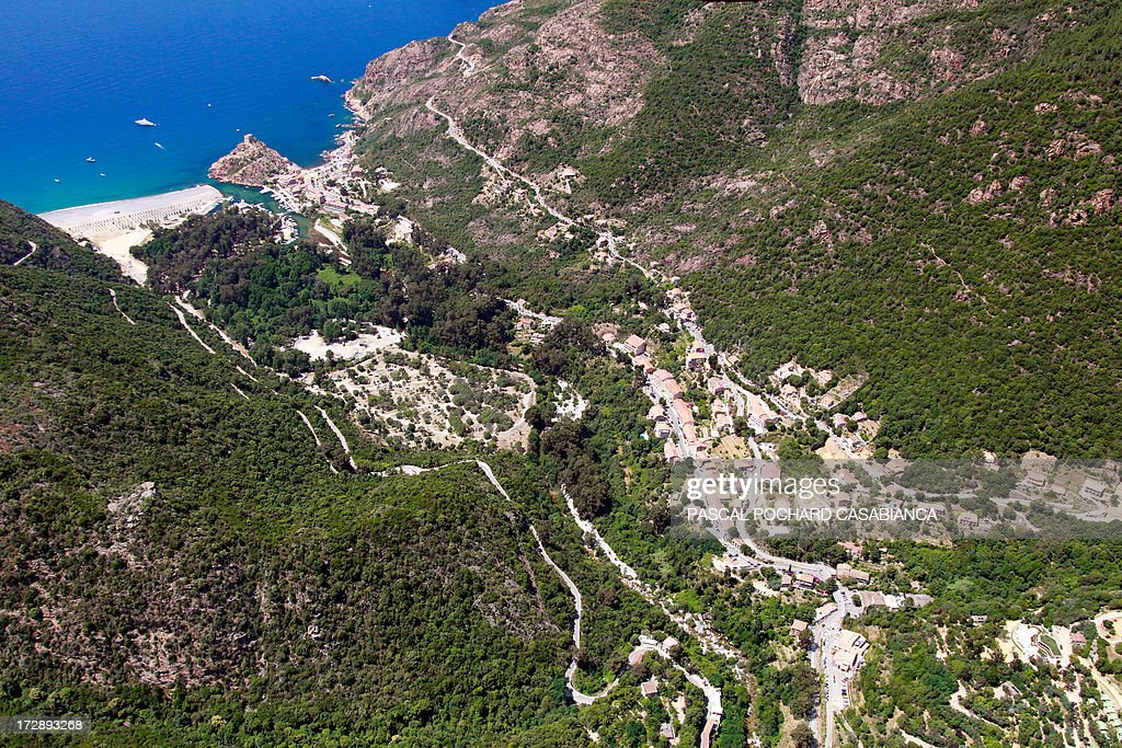 An aerial view taken on July 1rst, 2013, shows the village of Porto, on the s French Mediterranean Island of Corsica.