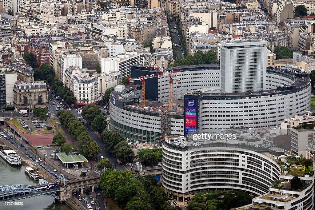 An aerial view taken on July 4, 2013 shows the Maison de la Radio in Paris. AFP PHOTO / THOMAS SAMSON
