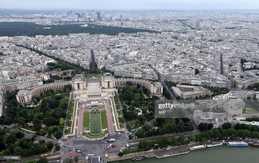An aerial view taken on July 4, 2013 shows the Trocadero museum and its gardens in Paris.