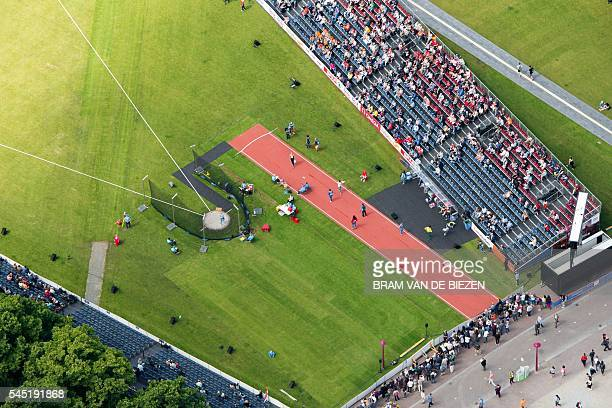 An aerial view taken on July 6 2016 shows the Museumplein where the European Athletics Championships take place in Amsterdam / AFP / ANP / Bram van...