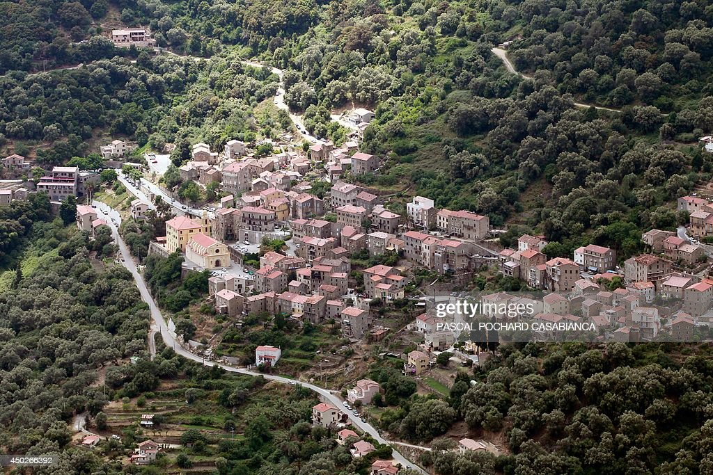 An aerial view taken on June 1 2014 on the French Mediterranean island of Corsica shows the city of Olmeto AFP PHOTO / PASCAL POCHARDCASABIANCA