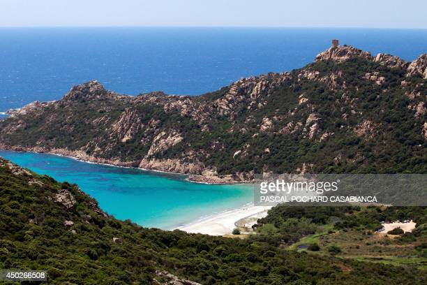 An aerial view taken on June 1 2014 on the French Mediterranean island of Corsica shows the Roccapina beach close from Sartene AFP PHOTO / PASCAL...