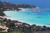 An aerial view taken on June 1 2014 on the French Mediterranean island of Corsica shows the Santa Giulia bay beach AFP PHOTO / PASCAL...