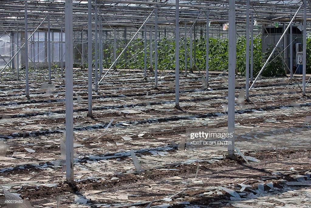 An aerial view taken on June 8, 2014 shows a damaged greenhouse in Wingene, on June 8, 2014 a day after a hail storm that sent down huge lumps of ice. DESPLENTER -Belgium Out-