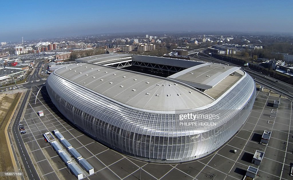 An aerial view taken on march 4, 2013 in Villeneuve d'Ascq shows French L1 football club Lille's new stadium the 'Grand Stade.'