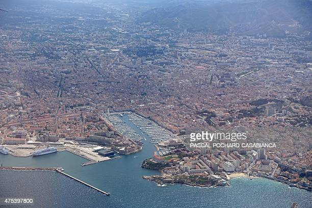 An aerial view taken on May 9 shows the Vieux Port of Marseille south of France AFP PHOTO / PASCAL POCHARDCASABIANCA